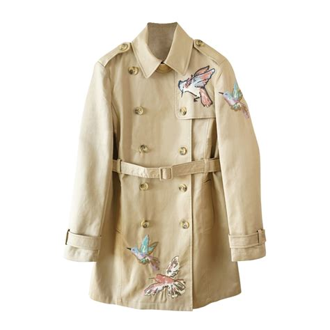 Embroidered Trench Coat valentino bird motif embroidered trenchcoat evachic