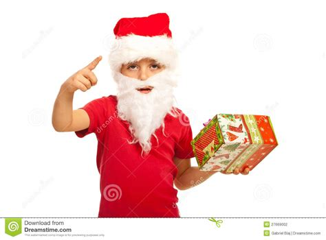 small santa claus boy indicate stock photography image