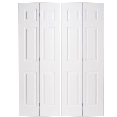 60 Closet Doors Shop Reliabilt No Frame 6 Panel Hollow Textured Molded Composite Bifold Closet Door
