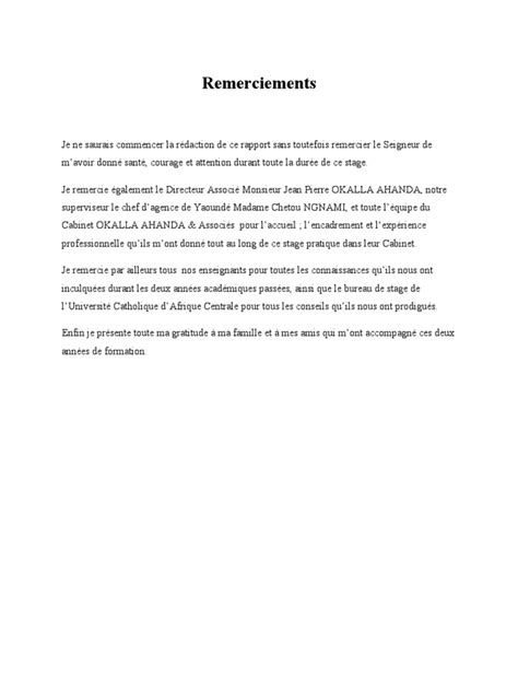 Exemple De Lettre De Remerciement Pour L Accueil D Un Stagiaire Remerciement Rapport De Stage Les Mentions 224 Faire Figurer