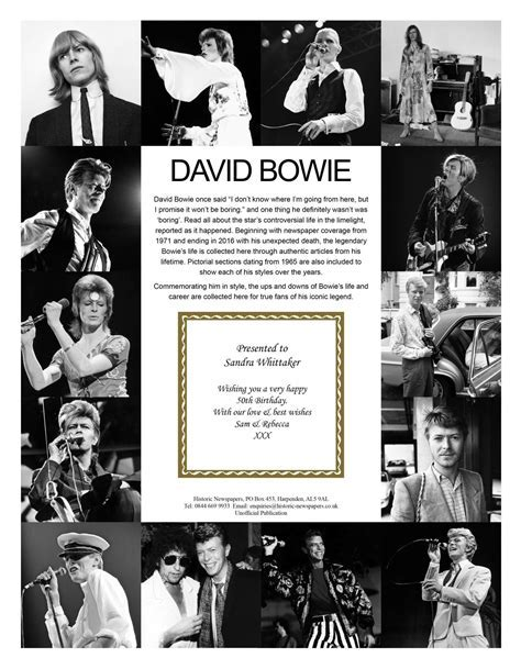 Personalised David Bowie Pictorial Newspaper Book   Love