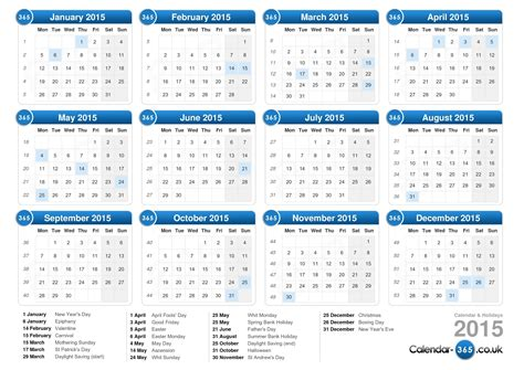 2015 calendar template with holidays calendar 2015
