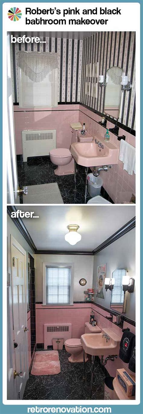 robert s pink and black bathroom makeover retro renovation robert s pink and black bathroom makeover retro renovation