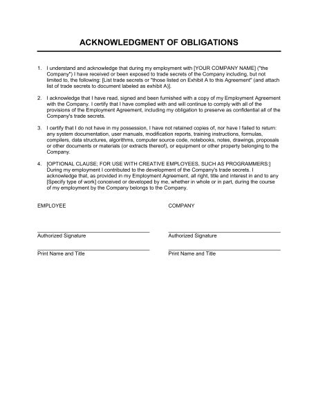 Acknowledgement Letter Estate acknowledgment of obligations template sle form