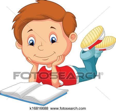 fotosearch clipart clip niedlich junge karikatur lesend buch