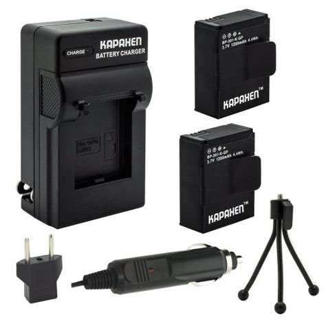 hero3 3 kapaxen two high capacity battery packs charger kit with bonus mini tripod gopro