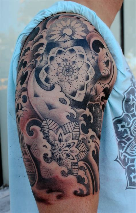 tattoos of waves designs blue koi lotus flower waves tattoos on half sleeve