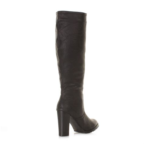 womens block heel knee high black leather style