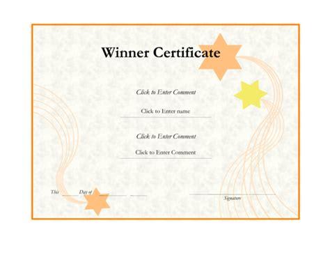 winner certificate template word winner certificate