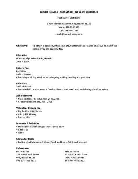 Chronological Resume Sle For High School Student college students tips and resources