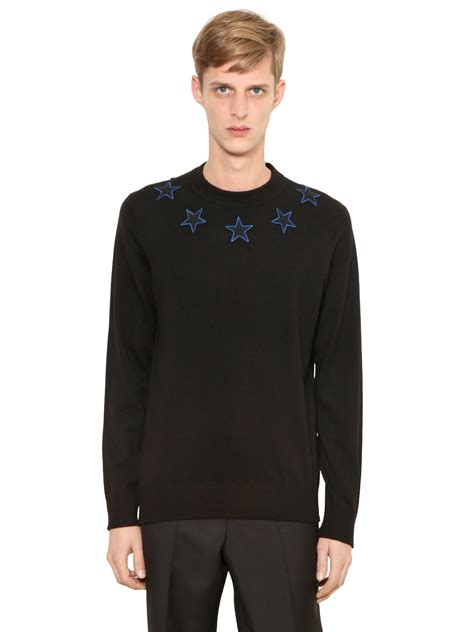 Givenchy Sweater givenchy patches wool blend sweater in black for lyst