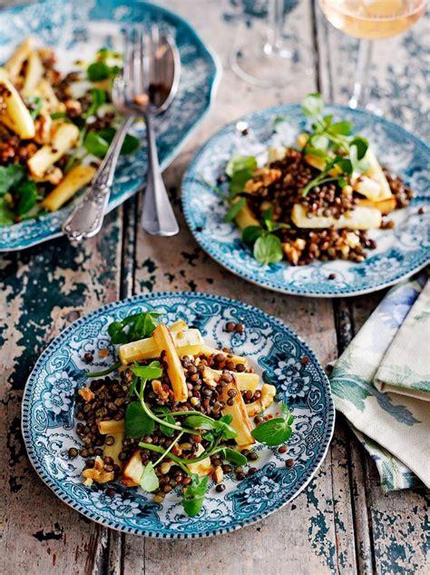 starters for dinner oliver puy lentil parsnip walnut salad vegetable recipes