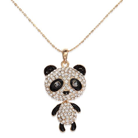 Rhinestone Animal Pendant Necklace rhinestone panda pendant necklace panda animal necklace