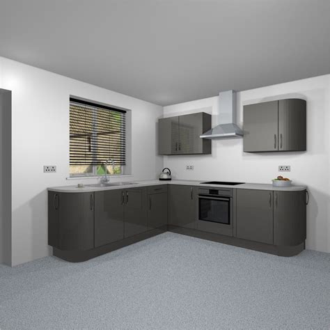 grey gloss curved complete fitted kitchen unit set curved
