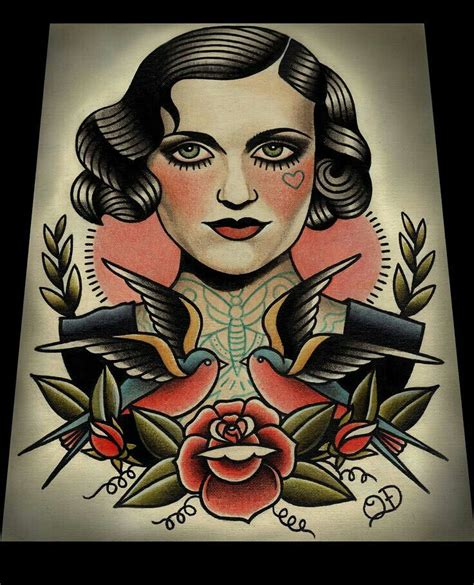 traditional woman tattoo traditional portrait www pixshark