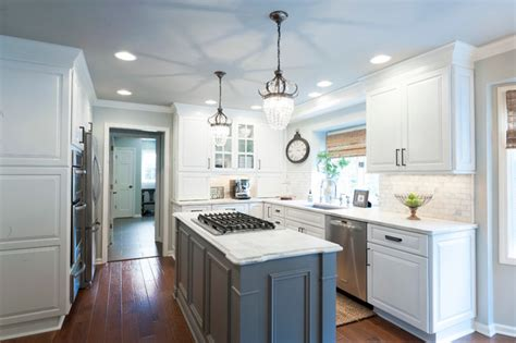 Granite Top Island Kitchen Table transitional u shaped kitchen with white perimeter