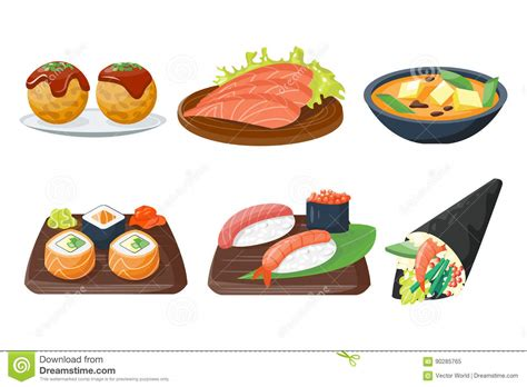 Japanese Food Culture Essay by Sushi Japanese Cuisine Food Icons Set Flat Vector Cartoondealer 55246679