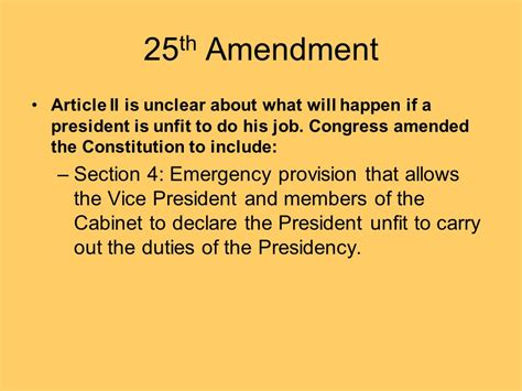 section 4 of the 25th amendment the presidency ppt video online download