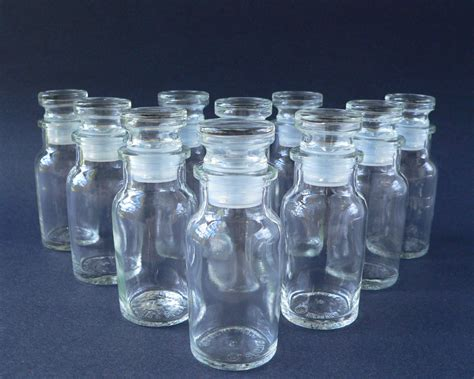 set of 10 glass spice jars bottles with lids by violetqvintage