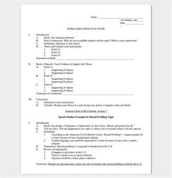 Persuasive Speech Sentence Outline Sle by Speech Outline Template 38 Sles Exles And Formats