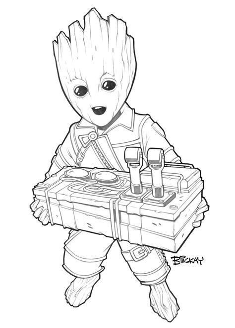 coloring page baby groot baby groot badge art lines by billmckay on deviantart