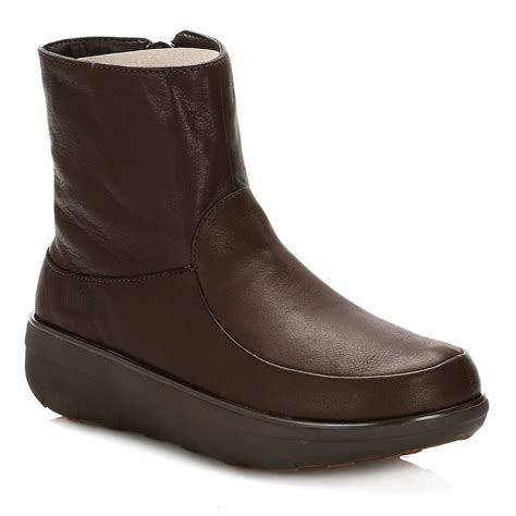 fitflop womens ankle boots chocolate brown loaff shorty