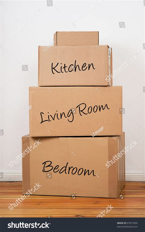 set of package labeled kitchen living room and bedroom