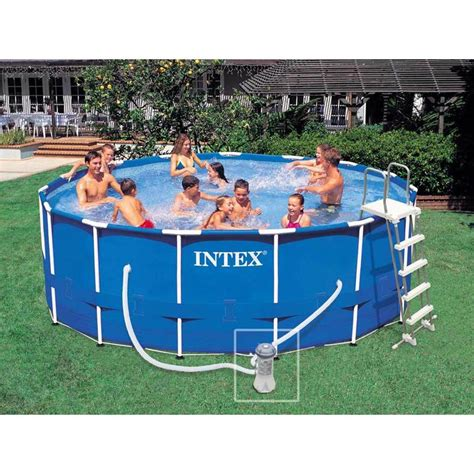 Piscine Hors Sol Intex Tubulaire 5164 by Piscine Tubulaire Intex Metal Frame Ronde 4 57 X 1 22 M
