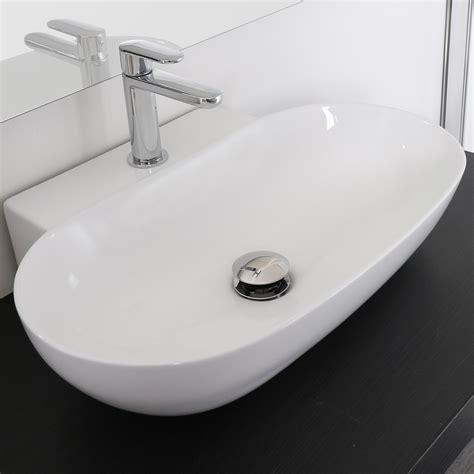 lavabo arredo lavabo appoggio 56 x 40 cm in ceramica bianco lucido d arredo