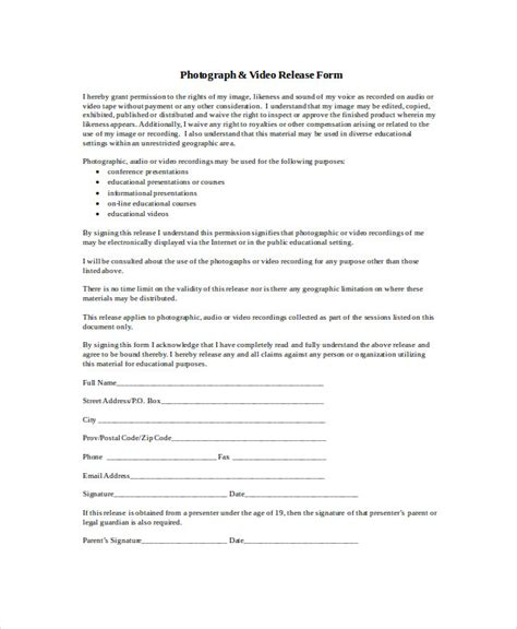 photographer release forms sle photographer release form 9 exles in word pdf