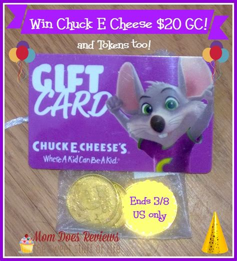 Chuck E Cheese Giveaway - win 20 chuck e cheese gc ends 3 8 us only