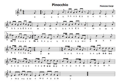 pinocchio testo canzone musica e spartiti gratis per flauto dolce pinocchio