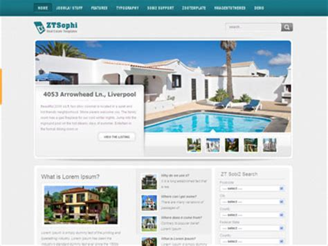 joomla templates real estate zt sophi joomla real estate or car dealership template