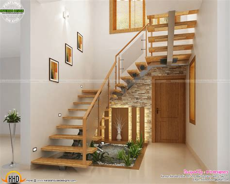 Below Stairs Design Stair Design Wooden Stair Kitchen And Living Kerala Home Design And Floor Plans