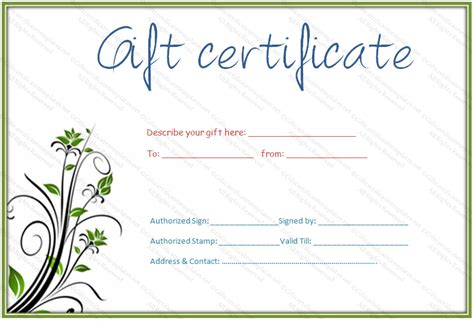 editable gift card template green bale gift certificate template