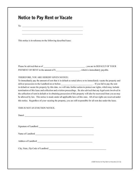 Notice To Pay Rent Or Quit Forms And Instructions Rental Notice To Vacate Template