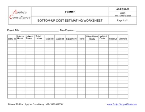bottom up estimating worksheet ready template