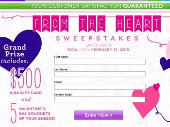 Send Flowers With Visa Gift Card - the send flowers from the heart sweepstakes sweepstakes fanatics