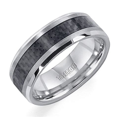 8mm wide tungsten carbide mens wedding band with carbon