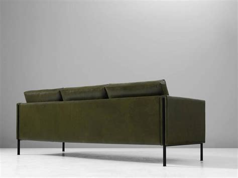 pierre paulin sofa pierre paulin reupholstered 442 sofa in green leather at