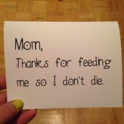 Mom dad thanks for feeding me so i don t die funny card blank fat