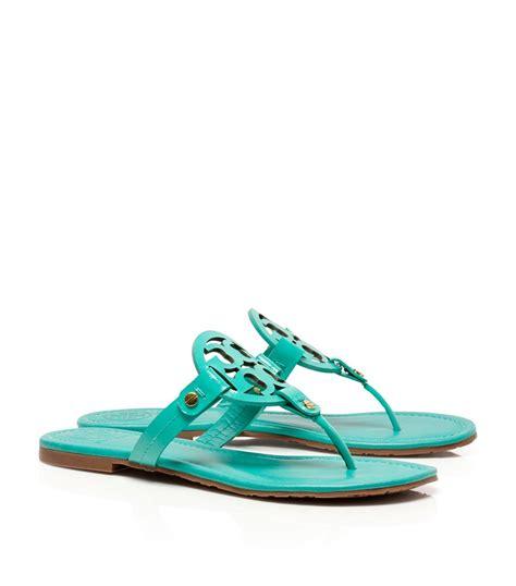 torey burch sandals lyst burch patent leather miller sandal in green