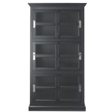 Black Bookcase With Doors Home Decorators Collection 3 Shelf Bookcase With Glass Doors In Black 8058800950 The