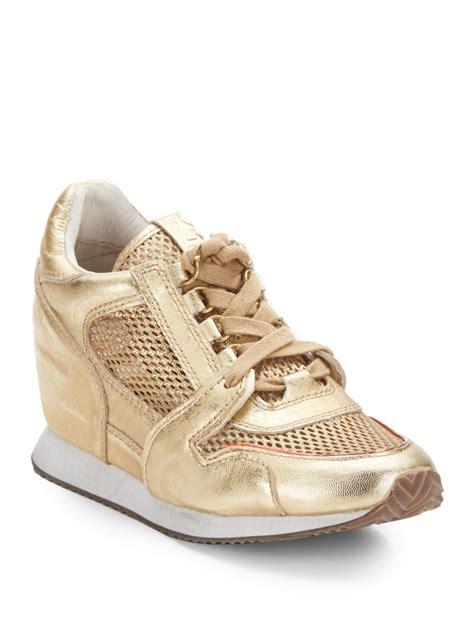 gold wedge sneakers ash dean mesh paneled leather wedge sneakers in metallic
