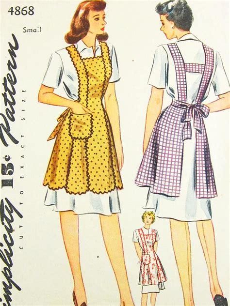 pattern apron vintage vintage apron pattern simplicity 4868 vtg 1940 s