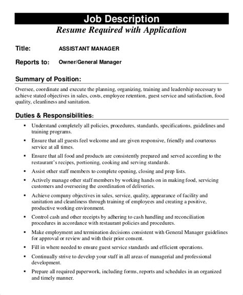 Assistant Manager Resume Exles by Assistant Credit Manager Description 28 Images