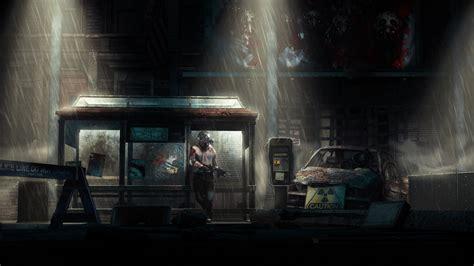 apocalypse town ruins night rain man mask machine