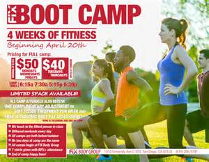 join us for 4 weeks of fitness fix boot camp fix body group