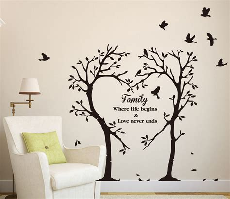 Large Wall Art Stickers large family inspirational love tree wall art sticker