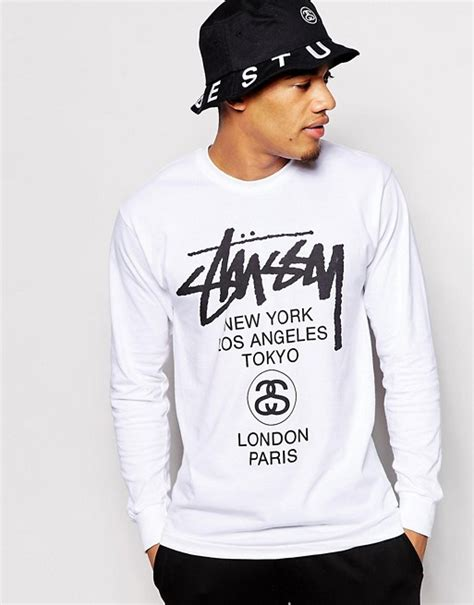 Sleeve T Shirt Stussy stussy stussy sleeve t shirt with world tour print
